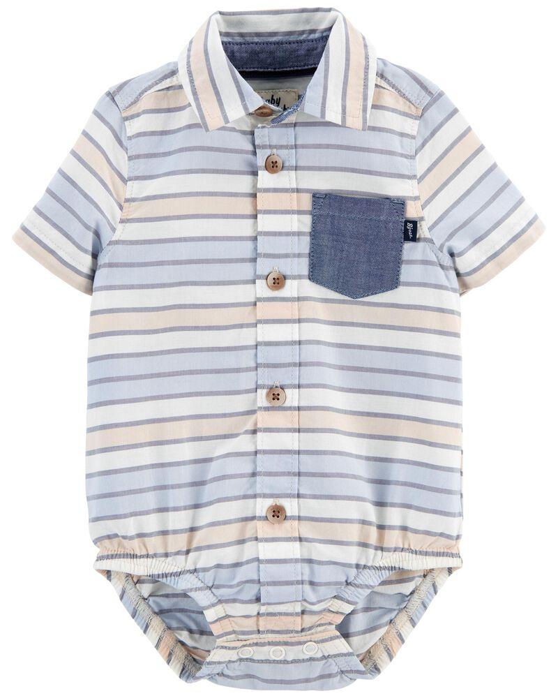 Striped Button-Front Bodysuit, , hi-res