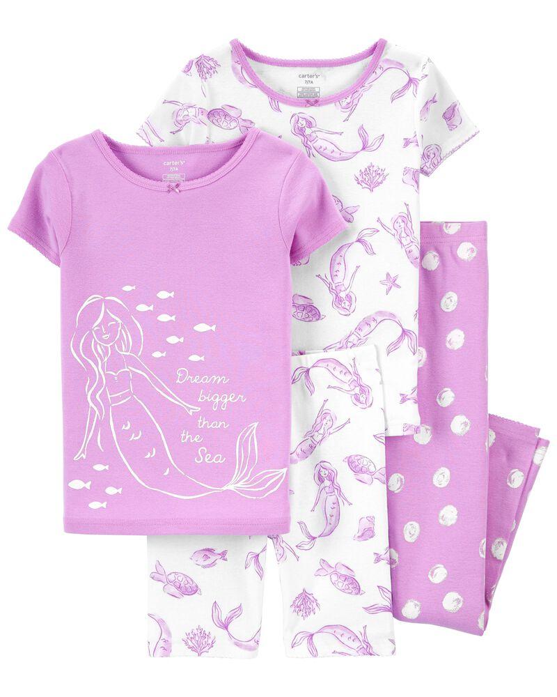 Pyjama 4 pièces en coton ajusté à motif sirène, , hi-res