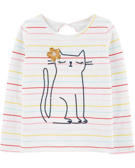T-shirt en jersey à chat pailleté