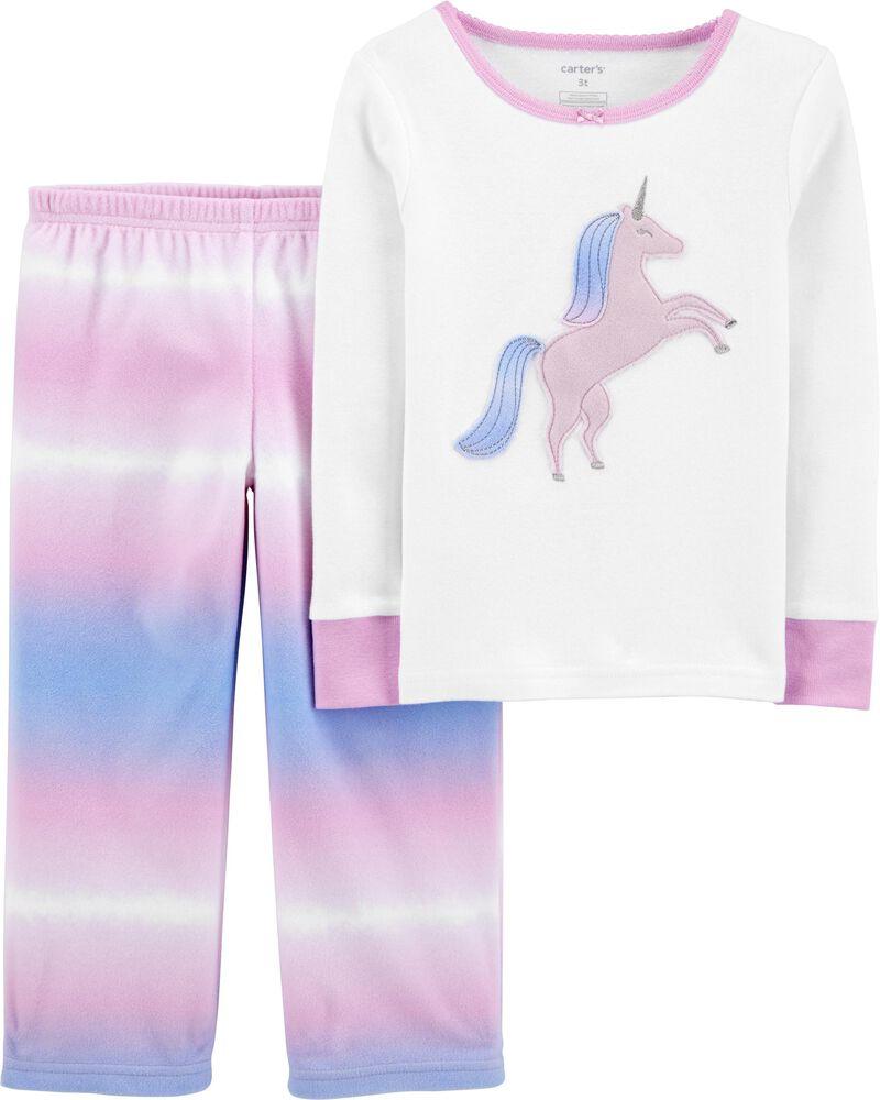 Pyjama 2 pièces en molleton et coton ajusté à licorne, , hi-res