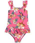 Tropical Parrot Ruffle Swimsuit, , hi-res