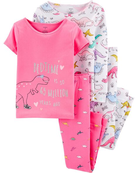 Pyjamas 4 pièces en coton ajusté motif dinosaure