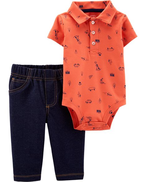 2-Piece Schiffli Polo Bodysuit Pant Set
