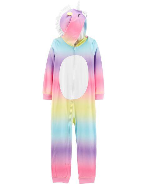 Pyjama 1 pièce à capuchon en molleton sans pieds licorne