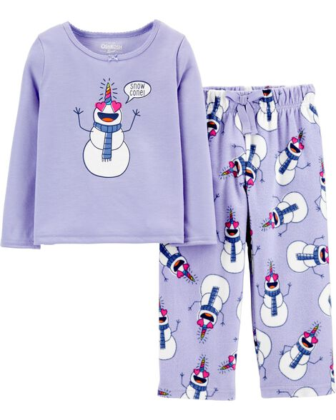 2-Piece Snowman Unicorn PJs