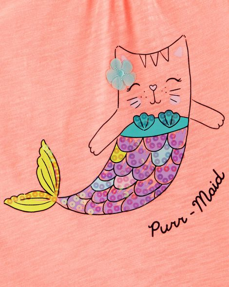 Neon Sequin Cat Mermaid Jersey Tank