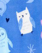 Pyjama 2 pièces à pieds en molleton motif hibou, , hi-res
