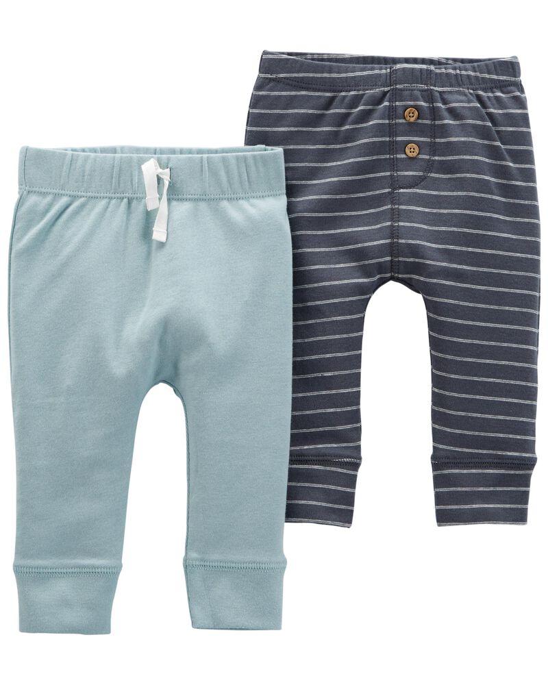 Emballage de 2 pantalons en coton à enfiler, , hi-res