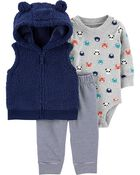 3-Piece Sherpa Little Vest Set, , hi-res
