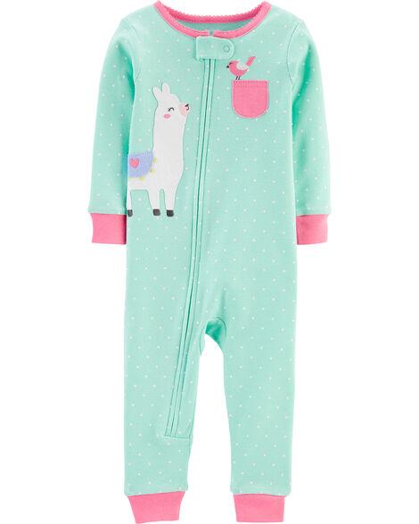 Pyjama 1 pièce sans pieds en coton ajusté à lama