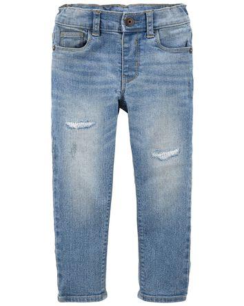 Rip & Repair Knit Denim Jeans —Sli...