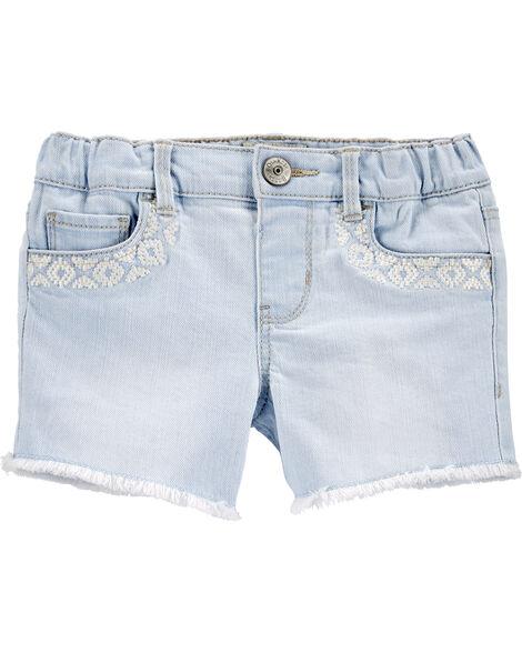 Embroidered Stretch Denim Shorts