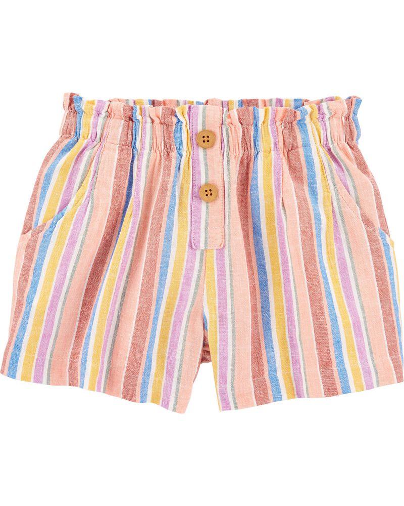 Striped Linen Shorts, , hi-res