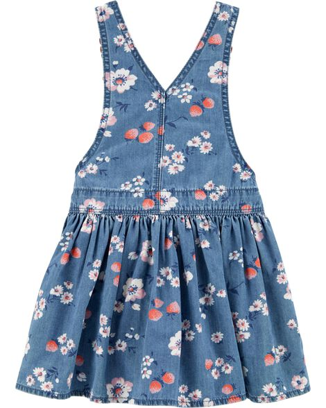 Robe chasuble en denim fraise