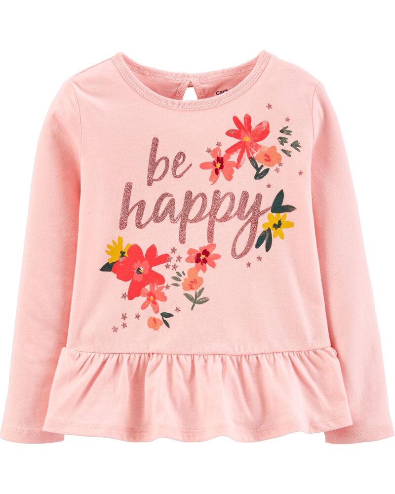 Be Happy Jersey Peplum Tee, , hi-res