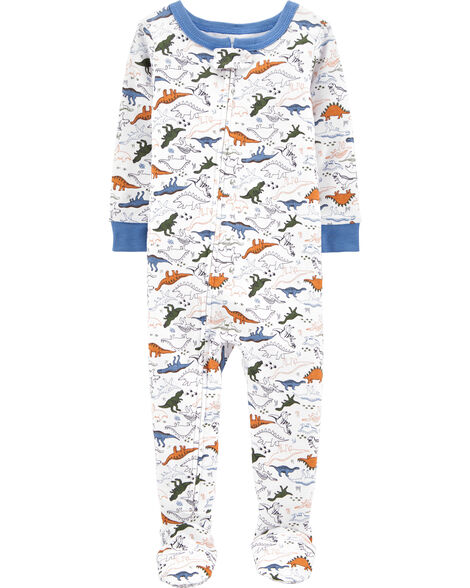 Pyjama 1 pièce à pieds en coton ajusté à motif dinosaure
