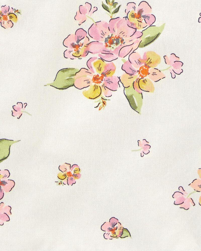 Salopette courte en toile fleurie, , hi-res