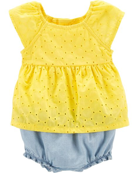 Lemon Eyelet Sunsuit