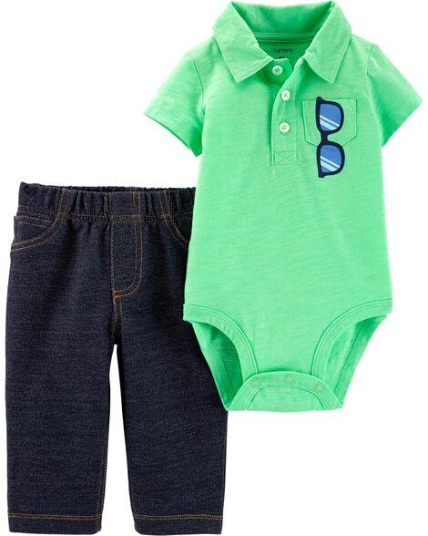 2-Piece Polo Bodysuit & Pant Set