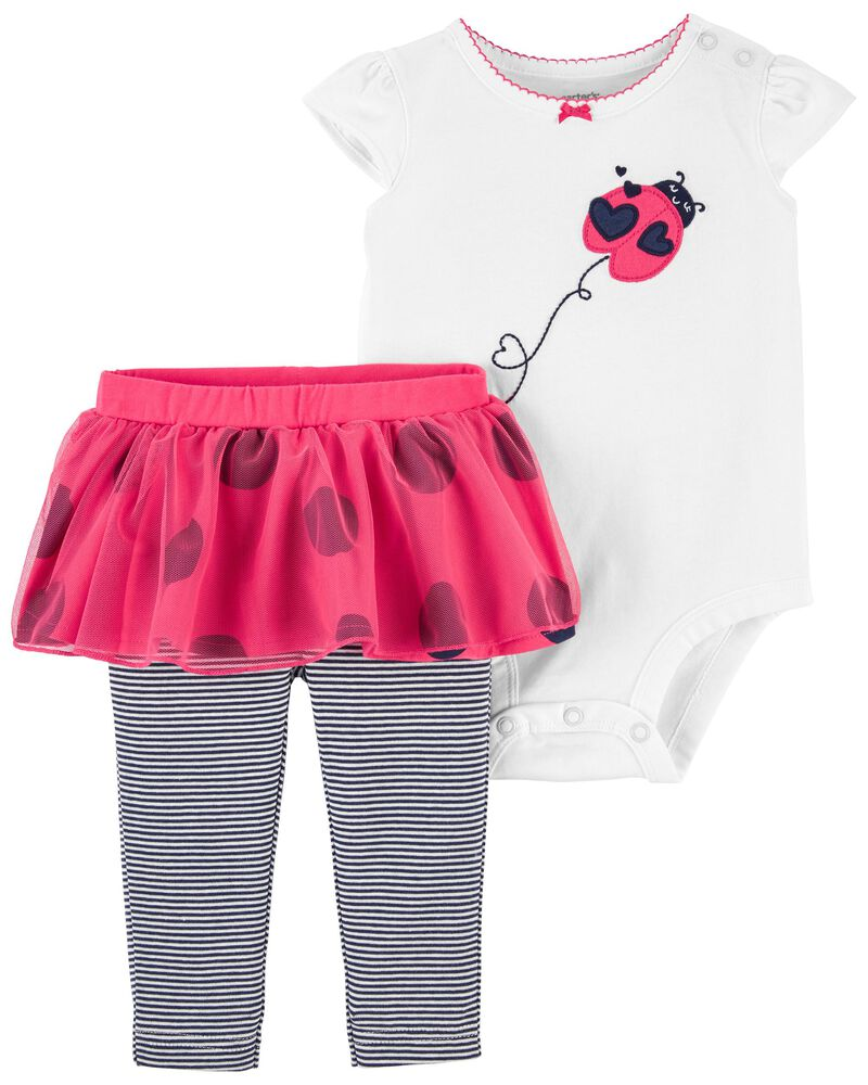 2-Piece Ladybug Bodysuit & Tutu Pant Set, , hi-res