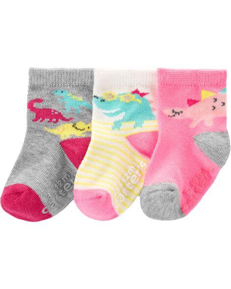 3 paires de chaussettes mi-mollet à dinosaure