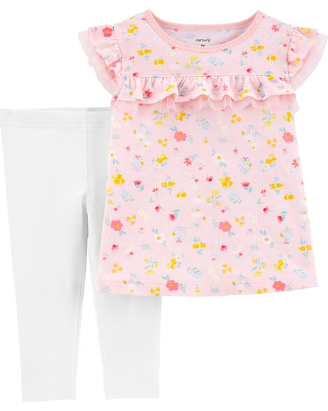 2-Piece Floral Jersey Top & Capri Legging Set