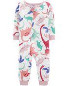 Pyjama 1 pièce sans pieds en coton ajusté dinosaure, , hi-res