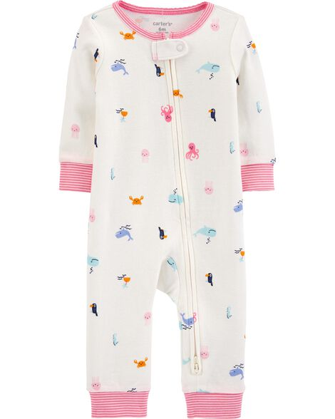 Beach 2-Way Zip Cotton Footless Sleep & Play