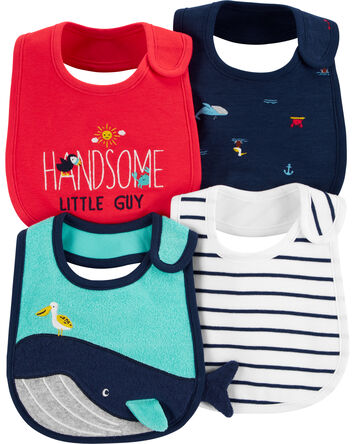 4-Pack Whale Teething Bibs
