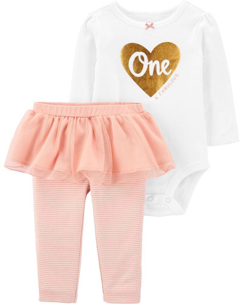 2-Piece 1st Birthday Bodysuit & Tutu Pant Set, , hi-res