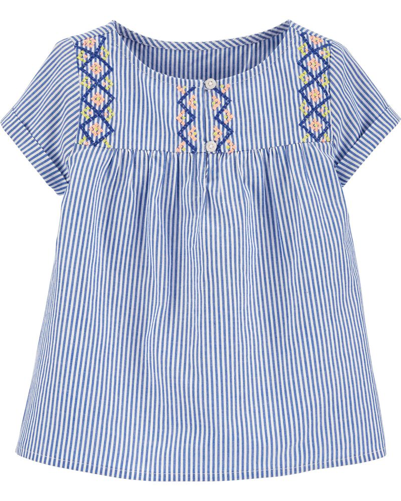 Striped Embroidered Top, , hi-res