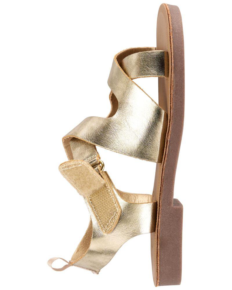 Sandales couleur or à brides, , hi-res