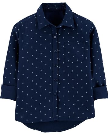 Button-Front Peplum Tunic