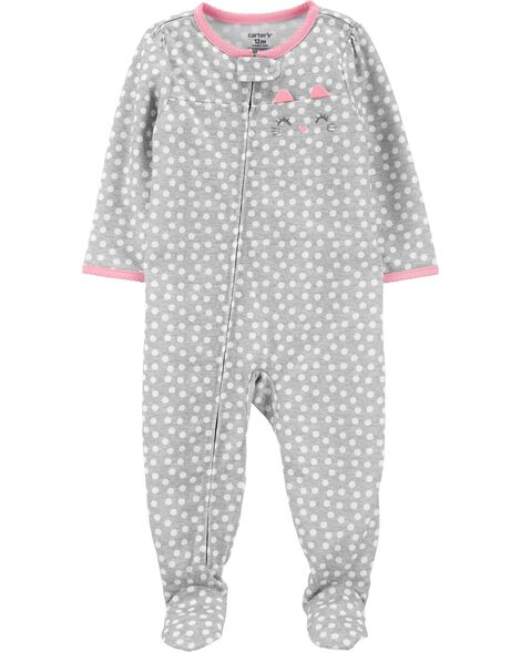 1-Piece Cat Poly Footie PJs