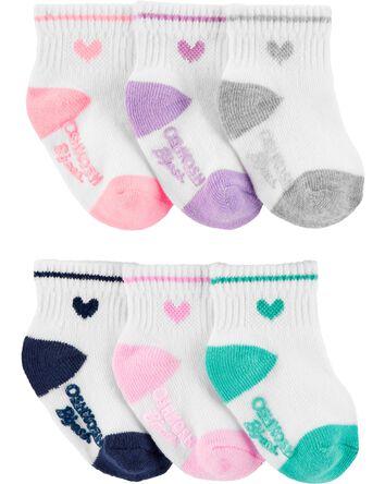 6-Pack Heart Quarter Crew Socks