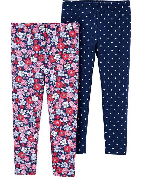 Emballage de 2 leggings à fleurs et à pois