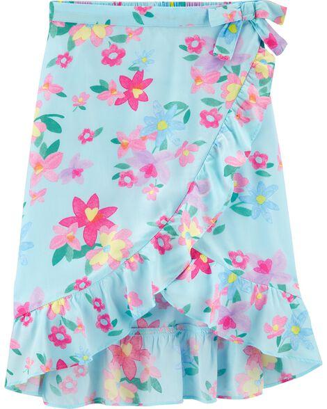 Floral Ruffle Wrap Skirt