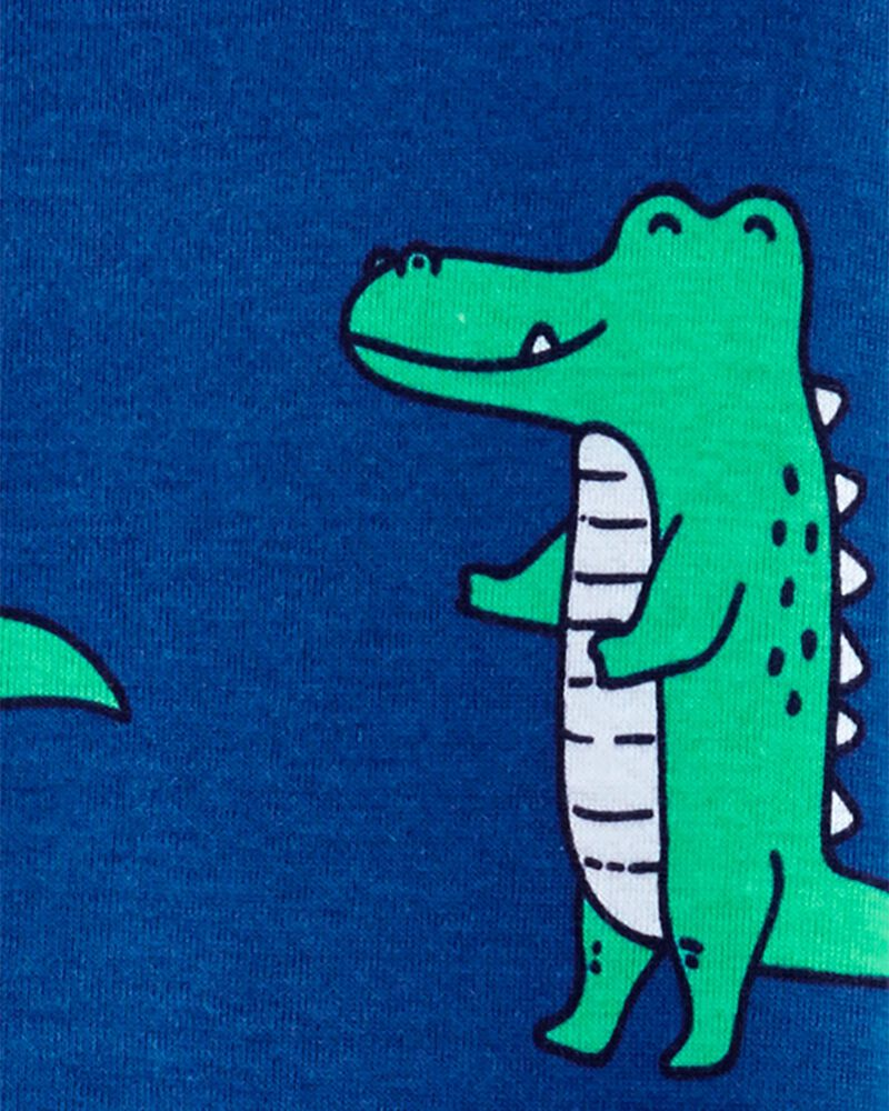 Pyjama 1 pièce à pieds en coton ajusté à motif d'alligator, , hi-res