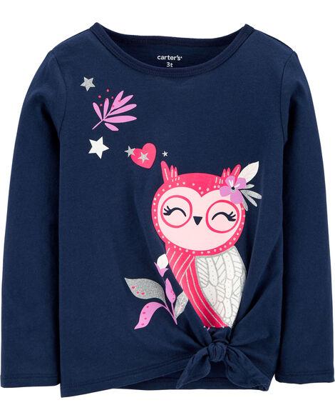 Owl Tie-Front Jersey Tee