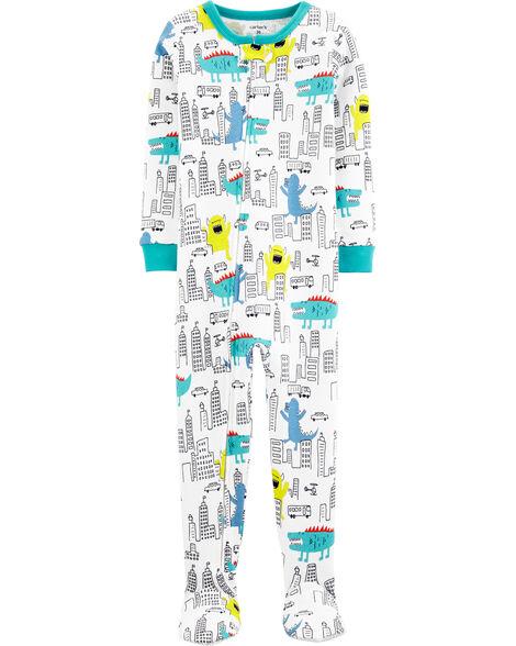 Pyjama 1 pièce en coton ajusté motif monstre