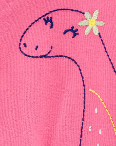 Grenouillère sans pieds en coton avec boutons-pression et motif dinosaure