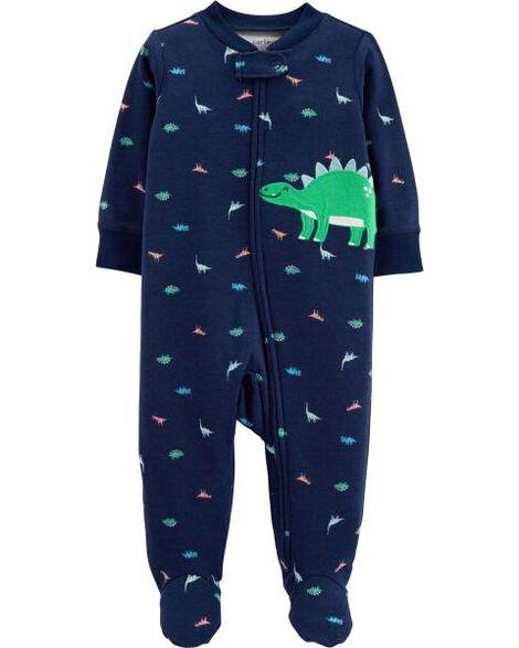 Grenouillère en coton pour dormir et jouer avec glissière et motif dinosaure