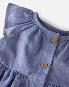 Robe volantée en coton façonnée biologique, , hi-res