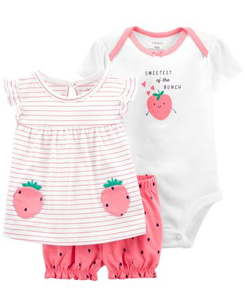 3-Piece Strawberry Little Short Set