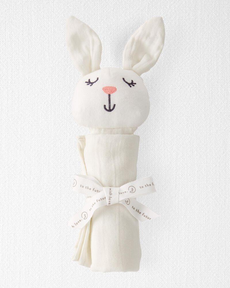 Doudou lapin en mousseline de coton biologique, , hi-res