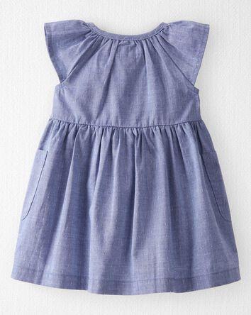 Organic Cotton Dobby Ruffle Dress