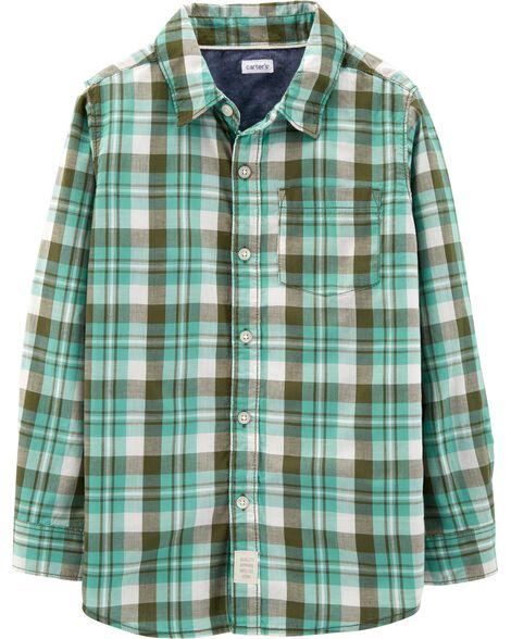 Plaid Soft Wash Button-Front Shirt