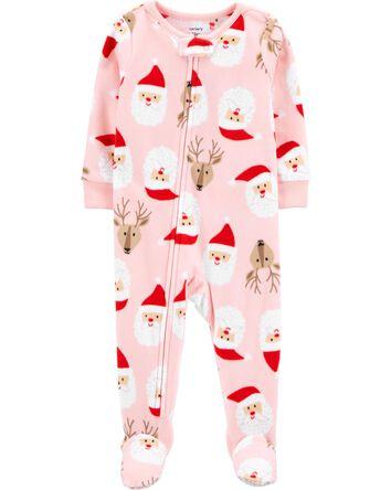 1-Piece Santa Fleece Footie PJs