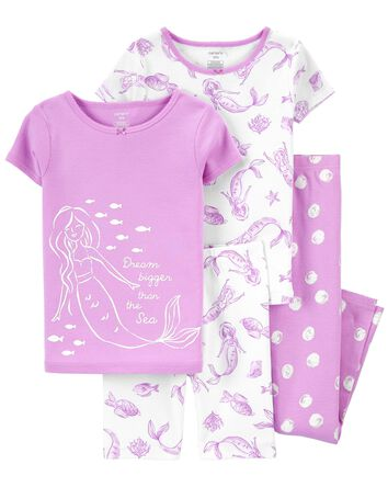 4-Piece Mermaid 100% Snug Fit Cotto...