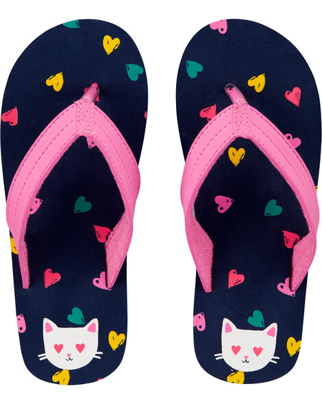 Heart Kitty Flip Flops